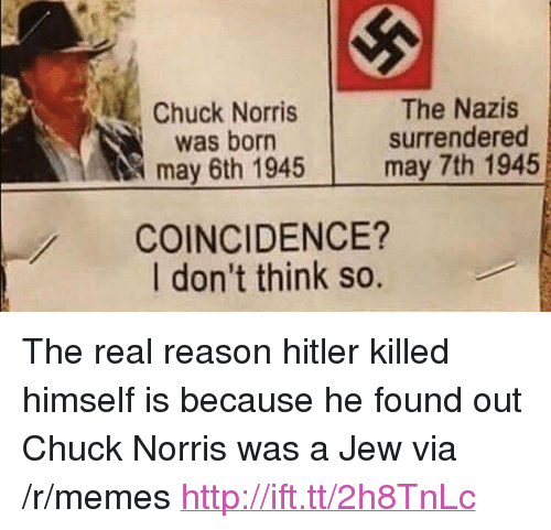 """chuck norris was born: Chuck Norris  was born  may 6th 1945  The Nazis  surrendered  may 7th 1945  COINCIDENCE?  I don't think so. <p>The real reason hitler killed himself is because he found out Chuck Norris was a Jew via /r/memes <a href=""""http://ift.tt/2h8TnLc"""">http://ift.tt/2h8TnLc</a></p>"""