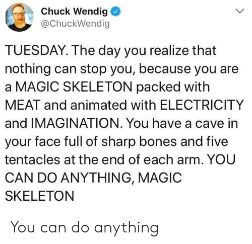 Animated: Chuck Wendig  @ChuckWendig  TUESDAY. The day you realize that  nothing can stop you, because you are  a MAGIC SKELETON packed with  MEAT and animated with ELECTRICITY  and IMAGINATION. You have a cave in  your face full of sharp bones and five  tentacles at the end of each arm. YOU  CAN DO ANYTHING, MAGIC  SKELETON You can do anything