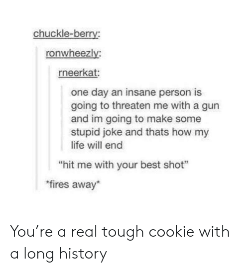 """Stupid Joke: chuckle-berry  ronwheezly  rneerkat  one day an insane person is  going to threaten me with a gun  and im going to make some  stupid joke and thats how my  life will end  hit me with your best shot""""  fires away You're a real tough cookie with a long history"""