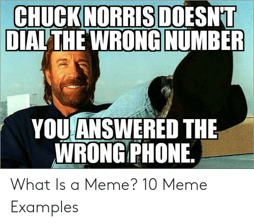 Meme Examples: CHUCKNORRIS DOESNT  DIALTHE WRONG NUMBER  YOU ANSWERED THE  WRONGPHONE What Is a Meme? 10 Meme Examples