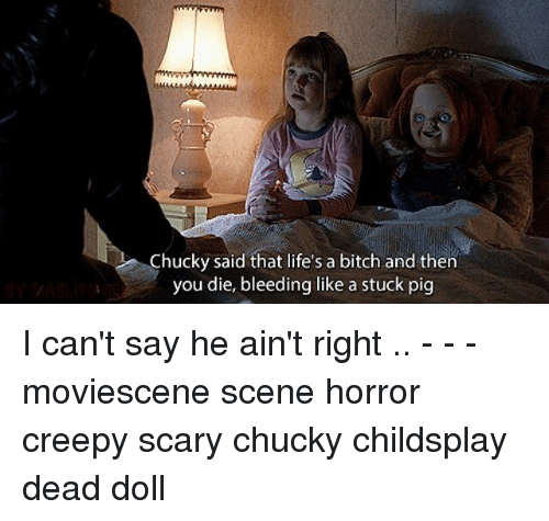 Pigly: Chucky said that life's a bitch and then  you die, bleeding like a stuck pig I can't say he ain't right .. - - - moviescene scene horror creepy scary chucky childsplay dead doll