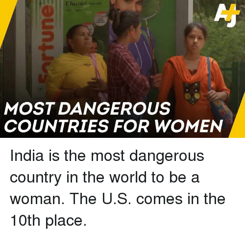 Memes, India, and Women: Chunkse  MOST DANGEROUS  COUNTRIES FOR WOMEN India is the most dangerous country in the world to be a woman. The U.S. comes in the 10th place.