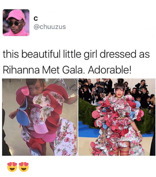 Beautiful, Memes, and Rihanna: chuuzus  this beautiful little girl dressed as  Rihanna Met Gala. Adorable! 😍😍