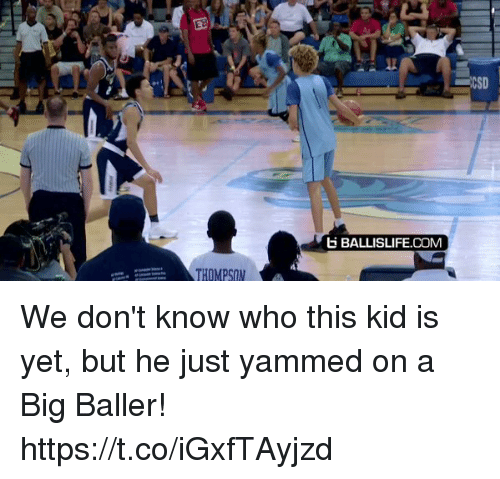 Memes, 🤖, and Com: CI  E BALLISLIFE.COM  THOMPSON We don't know who this kid is yet, but he just yammed on a Big Baller! https://t.co/iGxfTAyjzd