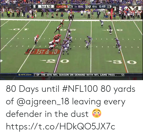 days until: CIN 14  BAL 17 4TH 6:49 06  1ST&10  TR  LEB 1ST&10  2|  EOF THE 2015 NFL SEASON ON DEMAND WITH NFL GAME PASS... GO  I NFL.CN 80 Days until #NFL100  80 yards of @ajgreen_18 leaving every defender in the dust 😳 https://t.co/HDkQO5JX7c