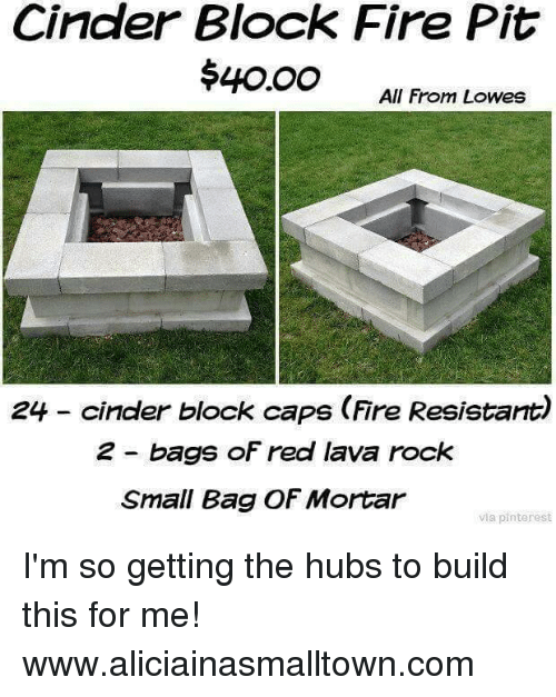 Cinder block fire pit 40oo all from lowes 24 cinder block for How to build a block fire pit
