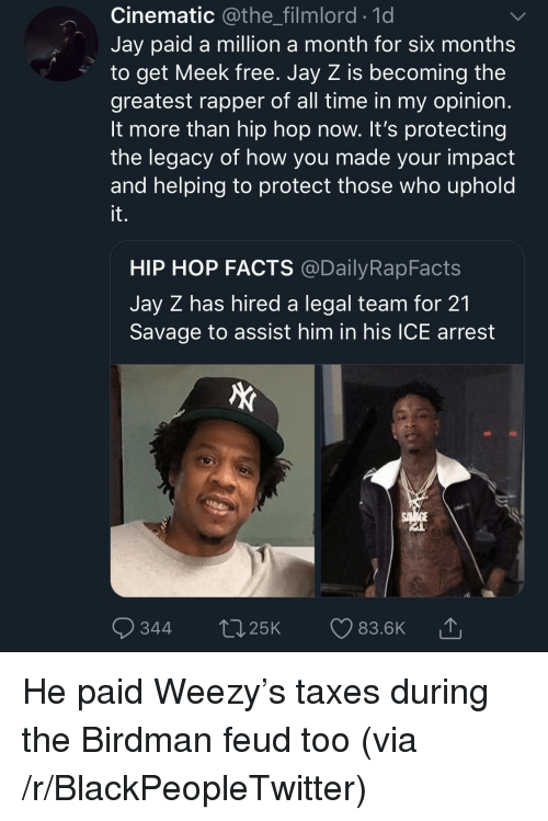 Weezy: Cinematic @the_filmlord.1d  Jay paid a million a month for six months  to get Meek free. Jay Z is becoming the  greatest rapper of all time in my opinion  It more than hip hop now. It's protecting  the legacy of how you made your impact  and helping to protect those who uphold  it.  HIP HOP FACTS @DailyRapFacts  Jay Z has hired a legal team for 21  Savage to assist him in his ICE arrest  344 t25K 83.6K He paid Weezy's taxes during the Birdman feud too (via /r/BlackPeopleTwitter)