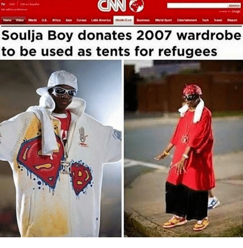 Africa, America, and Soulja Boy: CINNG  Nome Mdes World  Africa Asia Europe America  Soulja Boy donates 2007 wardrobe  to be used as tents for refugees