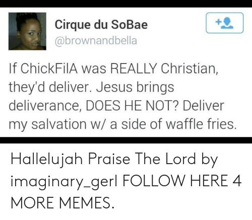 Deliverance: Cirque du SoBae  abrownandbella  If ChickFilA was REALLY Christian,  they'd deliver. Jesus brings  deliverance, DOES HE NOT? Deliver  my salvation w/ a side of waffle fries Hallelujah Praise The Lord by imaginary_gerl FOLLOW HERE 4 MORE MEMES.