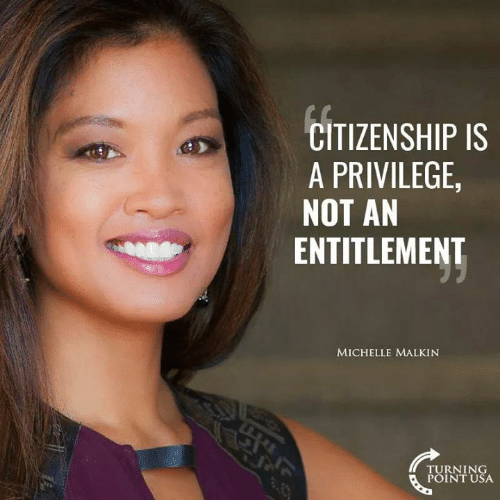 Memes, 🤖, and Usa: CITIZENSHIP IS  A PRIVILEGE  NOT AN  ENTITLEMENT  MICHELLE MALKIN  TURNING  POINT USA