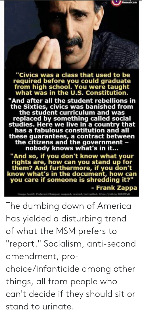 """amendment: """"Civics was a class that used to be  required before you could graduate  from high school. You were taught  what was in the U.S. Constitution.  """"And after all the student rebellions in  the Sixties, civics was banished from  the student curriculum and was  replaced by something called social  studies. Here we live in a country that  has a fabulous constitution and all  these guarantees, a contract between  the citizens and the government -  nobody knows what's in it...  """"And so, if you don't know what your  rights are, how can you stand up for  them? And furthermore, if you don't  know what's in the document, how can  you care if someone is shredding it?""""  - Frank Zappa  Image Credits Pinterest Changess oropped, resized, text added, https/bit.ly/2KBOWyD The dumbing down of America has yielded a disturbing trend of what the MSM prefers to """"report."""" Socialism, anti-second amendment, pro-choice/infanticide among other things, all from people who can't decide if they should sit or stand to urinate."""