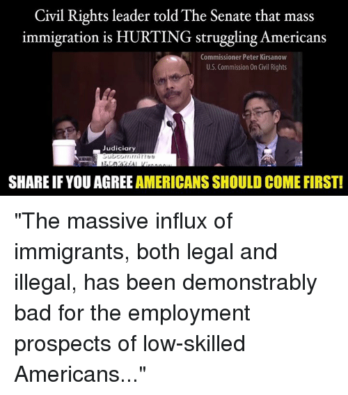 "Immigration: Civil Rights leader told The Senate that mass  immigration is HURTING struggling Americans  Commissioner Peter Kirsanow  U.S. Commission On Civil Rights  Judiciary  SHARE IFYOU AGREE AMERICANS SHOULD COME FIRST! ""The massive influx of immigrants, both legal and illegal, has been demonstrably bad for the employment prospects of low-skilled Americans..."""