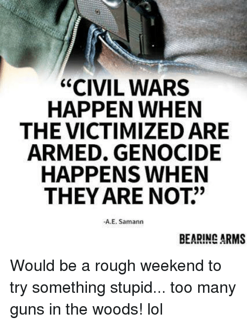 """bearing: """"CIVIL WARS  HAPPEN WHEN  THE VICTIMIZED ARE  ARMED. GENOCIDE  HAPPENS WHEN  THEY ARE NOT""""  -A.E. Samann  BEARING ARMS Would be a rough weekend to try something stupid... too many guns in the woods! lol"""