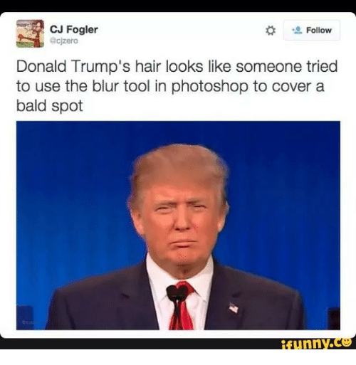 trump hair: CJ Fogler  Follow  zero  Donald Trump's hair looks like someone tried  to use the blur tool in photoshop to cover a  bald spot  funny ce