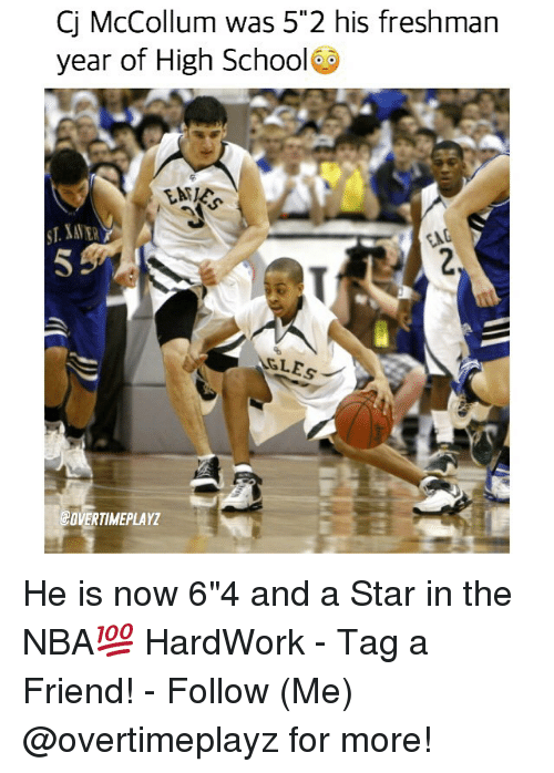 """Cj Mccollum: Cj McCollum was 55 2 his freshman  year of High School  GLEs  COVERTIMEPLAYZ He is now 6""""4 and a Star in the NBA💯 HardWork - Tag a Friend! - Follow (Me) @overtimeplayz for more!"""