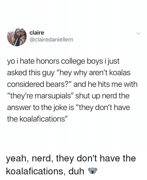 "College, Nerd, and Shut Up: claire  @clairedaniellem  yo i hate honors college boys I just  asked this guy ""hey why aren't koalas  considered bears?"" and he hits me with  ""they're marsupials"" shut up nerd the  answer to the joke is ""they don't have  the koalafications"" yeah, nerd, they don't have the koalafications, duh 🐨"