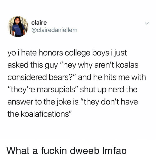"College, Nerd, and Shut Up: claire  @clairedaniellem  yo i hate honors college boys i just  asked this guy ""hey why aren't koalas  considered bears?"" and he hits me with  ""they're marsupials"" shut up nerd the  answer to the joke is ""they don't have  the koalafications"" What a fuckin dweeb lmfao"