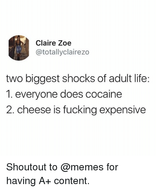 Fucking, Funny, and Life: Claire Zoe  @totallyclairezo  two biggest shocks of adult life:  1. everyone does cocaine  2. cheese is fucking expensive Shoutout to @memes for having A+ content.