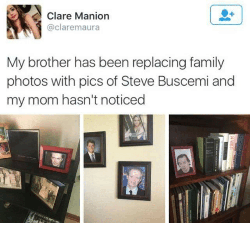 Family Photos: Clare Manion  @claremaura  My brother has been replacing family  photos with pics of Steve Buscemi and  my mom hasn't noticed
