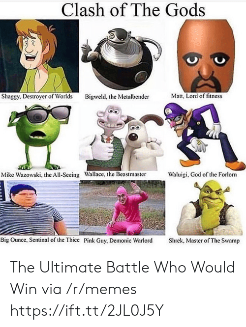 Who Would Win: Clash of The Gods  Matt, Lord of fitness  Shaggy. Destroyer of Worlds  Bigweld, the Metalbender  Waluigi, God of the Forlorn  Mike Wazowski, the All-Seeing Wallace, the Beastmaster  Big Ounce, Sentinal of the Thicc Pink Guy, Demonic Warlord  Shrek, Master of The Swamp The Ultimate Battle Who Would Win via /r/memes https://ift.tt/2JL0J5Y
