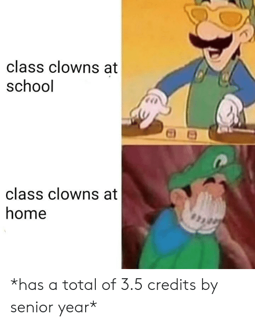 Senior Year: class clowns at  school  class clowns at  home *has a total of 3.5 credits by senior year*