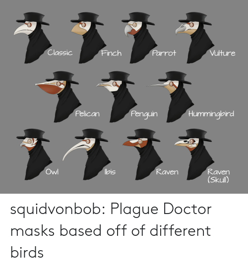 Hummingbird: Classic  Parrot  Vulture  Finch  Pelican  Penguin  Hummingbird  ヌ331  Owl  bis  Raven  Raven  (Skull) squidvonbob:  Plague Doctor masks based off of different birds