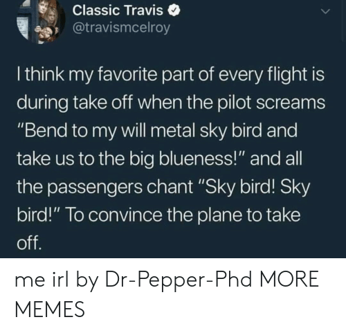 """Passengers: Classic Traviso  @travismcelroy  I think my favorite part of every flight is  during take oft when the pilot screams  """"Bend to my vwill metal sky bird and  take us to the big blueness!"""" and all  the passengers chant """"Sky bird! Sky  bird!"""" To convince the plane to take me irl by Dr-Pepper-Phd MORE MEMES"""