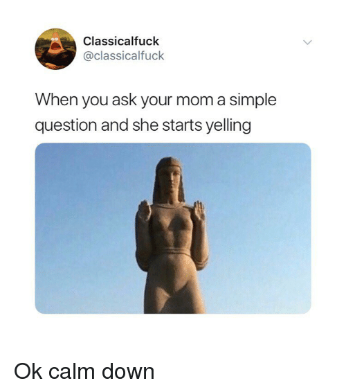 Classical Art, Mom, and Simple: Classicalfuck  @classicalfuck  When you ask your mom a simple  question and she starts yelling Ok calm down