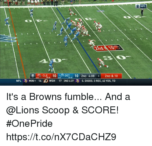Memes, Nfl, and Browns: CLE 10DET4 10 2ND 4:08 6 2ND & 10  NFL-MIN. 140 wSH 17 2ND 4:37与S. DIGGS: 3 REC, 62 YDS, TD  (0-8)  (4-4) It's a Browns fumble...  And a @Lions Scoop & SCORE! #OnePride https://t.co/nX7CDaCHZ9