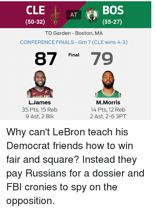 "td garden: CLE  (50-32)  AT  (55-27)  TD Garden- Boston, MA  CONFERENCE FINALS-Gm 7 (CLE wins 4-3)  Final  87 ""479  L.James  35 Pts, 15 Reb  9 Ast, 2 Blk  M.Morris  14 Pts, 12 Reb  2 Ast, 2-6 3PT"