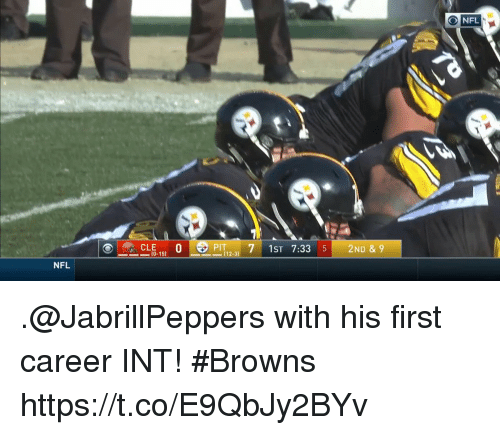 Memes, Nfl, and Browns: CLE0  PIT 7 1ST 7:33 52ND & 9  10-15)  112-31  NFL .@JabrillPeppers with his first career INT! #Browns https://t.co/E9QbJy2BYv