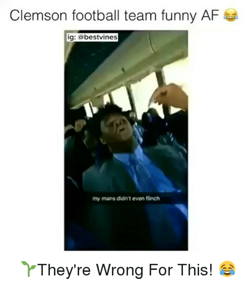 Af, Football, and Funny: Clemson football team funny AF  ig: bestvines  my mans didn't even flinch ⠀ 🌱They're Wrong For This! 😂