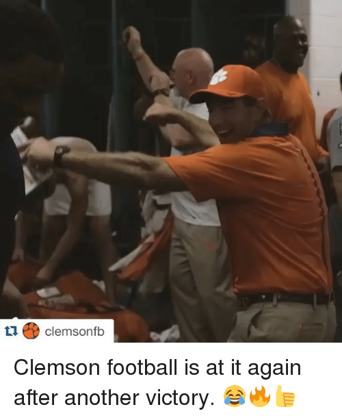 Sports, Victorious, and Clemson Football: Clemsonfb Clemson football is at it again after another victory. 😂🔥👍