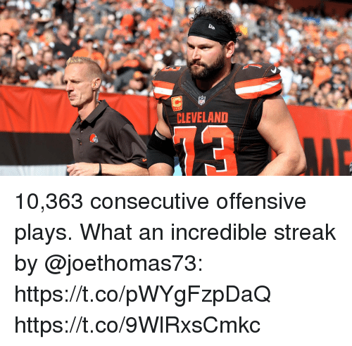 Memes, Cleveland, and 🤖: CLEVELAND 10,363 consecutive offensive plays.  What an incredible streak by @joethomas73: https://t.co/pWYgFzpDaQ https://t.co/9WlRxsCmkc