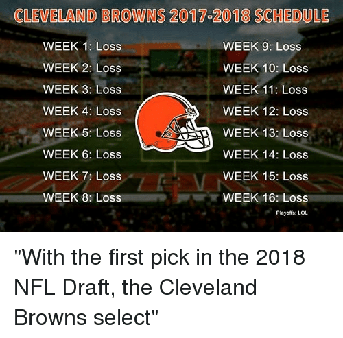 "Cleveland Browns, Lol, and Memes: CLEVELAND BROWINS 2017 2018 SCHEDULE  WEEK 1: Loss  WEEK 9: Loss  WEEK 10: Loss  WEEK 2: Loss  WEEK 11: Loss  WEEK 3: Loss  WEEK 4: Loss  WEEK 12: Loss  WEEK 13: Loss  WEEK 5: Loss  WEEK 6: Loss  WEEK 14: Loss  WEEK 15: Loss  WEEK 7: Loss  WEEK 8: Loss  WEEK 16: Loss  Playoffs: LOL ""With the first pick in the 2018 NFL Draft, the Cleveland Browns select"""
