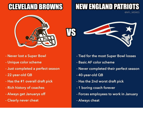 Af, Cleveland Browns, and England: CLEVELAND BROWNS  NEW ENGLAND PATRIOTS  @NFL_MEMES  - Tied for the most Super Bowl losses  Never lost a Super Bowl  Unique color scheme  Basic AF color scheme  - Never completed their perfect season  - 40-year-old QB  - Just completed a perfect season  22-year-old QB  Has the #1 overall draft pick  Has the 2nd worst draft pick  1 boring coach forever  Forces employees to work in January  Always cheat  - Rich history of coaches  Always get Januarys off  Clearly never cheat