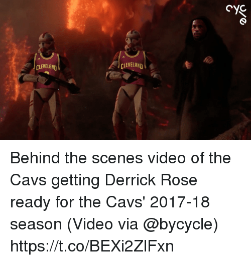 Cavs, Derrick Rose, and Sports: CLEVELAND  CLEVELAND Behind the scenes video of the Cavs getting Derrick Rose ready for the Cavs' 2017-18 season  (Video via @bycycle) https://t.co/BEXi2ZlFxn