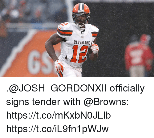 Memes, Browns, and Cleveland: CLEVELAND .@JOSH_GORDONXII officially signs tender with @Browns: https://t.co/mKxbN0JLlb https://t.co/iL9fn1pWJw