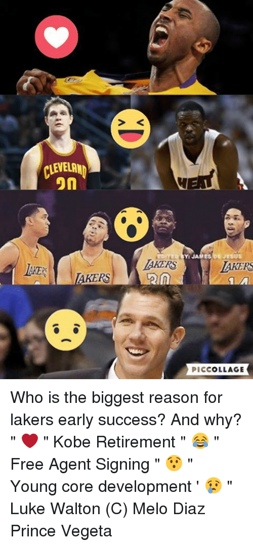 "Luke Walton, Memes, and Prince: CLEVELAND  on  AKERS  EDITED JAMES JESUS  LAKERS  PICCOLLAGE Who is the biggest reason for lakers early success? And why?  "" ❤️ "" Kobe Retirement "" 😂 "" Free Agent Signing "" 😯 "" Young core development ' 😢 "" Luke Walton  (C) Melo Diaz  Prince Vegeta"