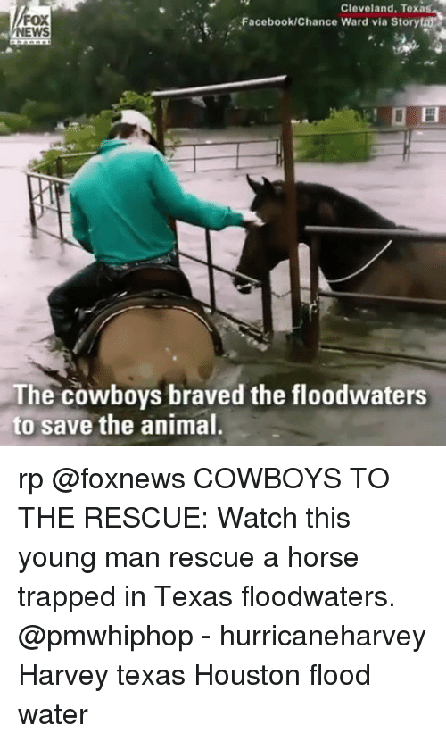 Dallas Cowboys, Facebook, and Memes: Cleveland, Texas  FOX  NEWS  Facebook/Chance Ward via Storyt  El  The cowboys braved the floodwaters  to save the animal rp @foxnews COWBOYS TO THE RESCUE: Watch this young man rescue a horse trapped in Texas floodwaters. @pmwhiphop - hurricaneharvey Harvey texas Houston flood water