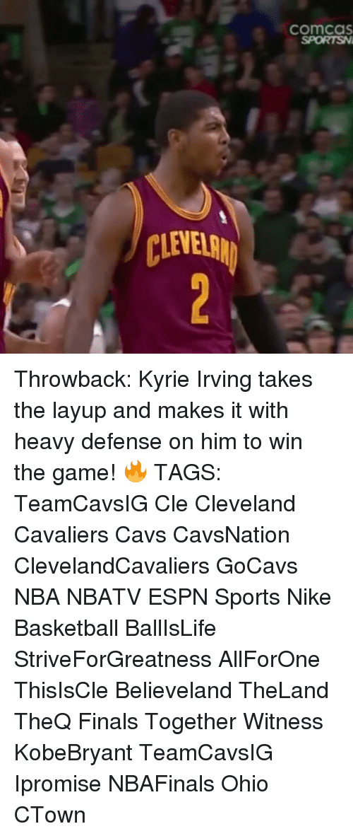 Espn, Memes, and Nike: CLEVER  ComCaS Throwback: Kyrie Irving takes the layup and makes it with heavy defense on him to win the game! 🔥 TAGS: TeamCavsIG Cle Cleveland Cavaliers Cavs CavsNation ClevelandCavaliers GoCavs NBA NBATV ESPN Sports Nike Basketball BallIsLife StriveForGreatness AllForOne ThisIsCle Believeland TheLand TheQ Finals Together Witness KobeBryant TeamCavsIG Ipromise NBAFinals Ohio CTown