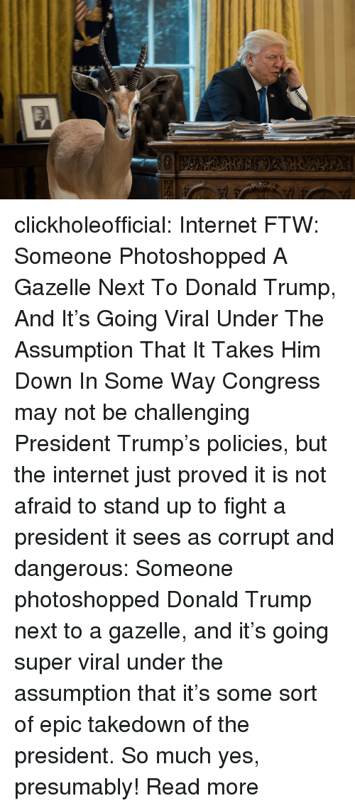 Clickhole: clickholeofficial: Internet FTW: Someone Photoshopped A Gazelle Next To Donald Trump, And It's Going Viral Under The Assumption That It Takes Him Down In Some Way Congress may not be challenging President Trump's policies, but the internet just proved it is not afraid to stand up to fight a president it sees as corrupt and dangerous: Someone photoshopped Donald Trump next to a gazelle, and it's going super viral under the assumption that it's some sort of epic takedown of the president. So much yes, presumably! Read more