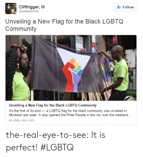 unveiling: Cliftrigger, ll  @seabethree  Follow  Unveiling a New Flag for the Black LGBTQ  Community  Unveiling a New Flag for the Black LGBTQ Community  It's the first of its kind a LGBTQ flag for the black community was unveiled in  Montreal last week. It also opened the Pride Parade in the city over the weekend.  en.daily.vice.com the-real-eye-to-see:  It is perfect! #LGBTQ