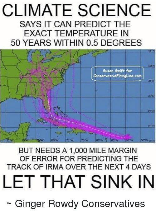 Swifting: CLIMATE SCIENCE  SAYS IT CAN PREDICT THE  EXACT TEMPERATURE IN  50 YEARS WITHIN 0.5 DEGREES  Susan.Swift for  ConseryativeFiringLins.com  ON  BUT NEEDS A 1,000 MILE MARGIN  OF ERROR FOR PREDICTING THE  TRACK OF IRMA OVER THE NEXT 4 DAYS  LET THAT SINK IN ~ Ginger  Rowdy Conservatives