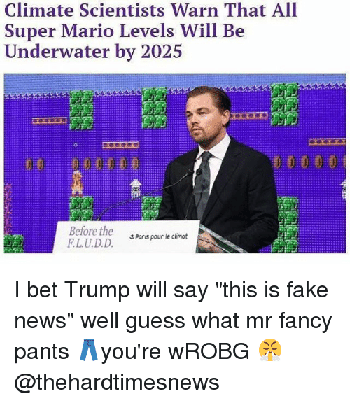 """Faking News: Climate Scientists Warn That All  Super Mario Levels Will Be  I ndt.rw.iler b丶-'#2、  Before the  LU.D.D.  エPorts pour le climat I bet Trump will say """"this is fake news"""" well guess what mr fancy pants 👖you're wROBG 😤 @thehardtimesnews"""