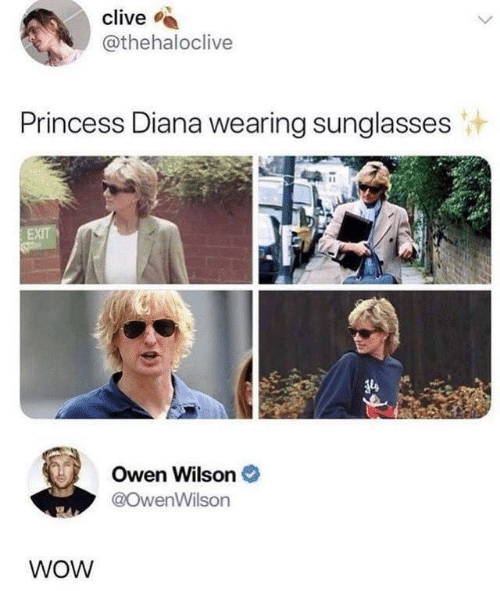 diana: clive  @thehaloclive  Princess Diana wearing sunglasses  EXIT  Owen Wilson  @OwenWilson  WOW