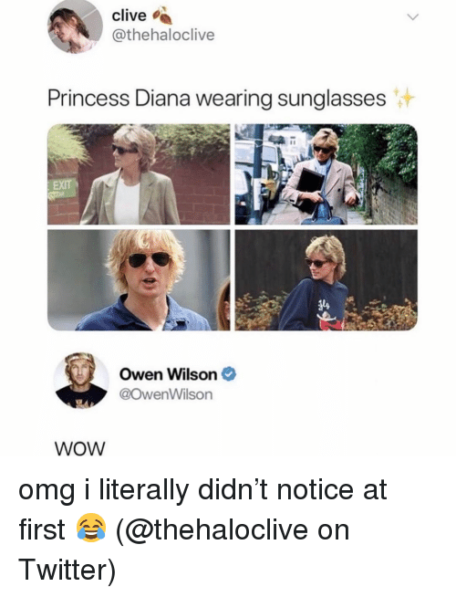 Princess Diana: clive  @thehaloclive  Princess Diana wearing sunglasses  Owen Wilson  @owenWilson  WoW omg i literally didn't notice at first 😂 (@thehaloclive on Twitter)