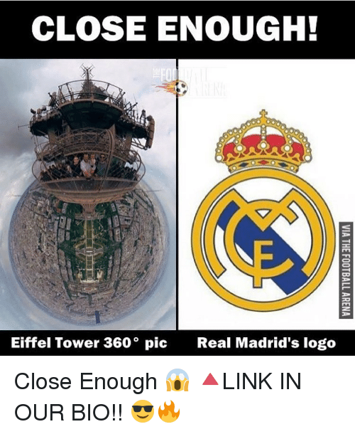 Eiffel Towering: CLOSE ENOUGH!  Eiffel Tower 360° pic  Real Madrid's logo Close Enough 😱 🔺LINK IN OUR BIO!! 😎🔥
