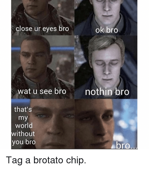 Memes, Wat, and World: close ur eyes bro  ok bro  wat u see bronothin bro  that's  my  world  without  you bro  ro.. Tag a brotato chip.