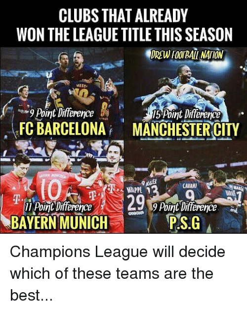 Barcelona, Football, and Memes: CLUBS THAT ALREADY  WON THE LEAGUE TITLE THIS SEASON  DREW FOOTBALL NATION  MESS  FC BARCELONA MANCHESTERCITY  (0  Point Difference  垂.  9 Point Difference  BAYERN MUNICH  PSIG Champions League will decide which of these teams are the best...